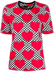 Love Moschino Check Heart Print T Shirt 60