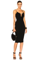 Victoria Beckham Matte Crepe And Tulle Sheer Insert Strap Fitted Dress In Black