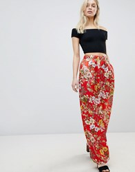 Qed London Wide Leg Floral Trousers Red