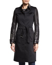 Burberry Earsdale Leather Sleeve Trenchcoat Black