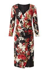 James Lakeland Rose Print Dress Black White Black White