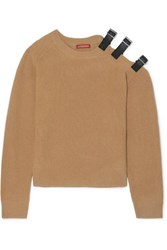 Altuzarra Cutout Leather Trimmed Wool And Cashmere Blend Sweater Camel