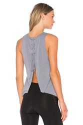 Blue Life Fit Open Back Tank Gray