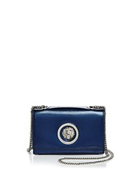 Versus By Versace Lion's Head Metallic Mini Saffiano Leather Crossbody Night Blue Silver