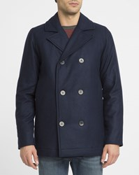 Norse Projects Navy Birk Primaloft Wool Pea Coat Blue