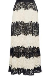 Red Valentino Two Tone Cotton Guipure Lace Maxi Skirt Ivory