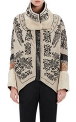 Gary Graham Women's Embroidered Linen Cocoon Jacket Tan