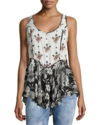 Free People Double Floral Print Tank Top Black Combo