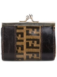 Fendi Vintage Monogram Wallet Women Plastic One Size Brown
