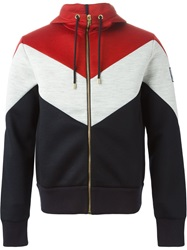 Moncler Gamme Bleu Color Block Zipped Hoodie Multicolour