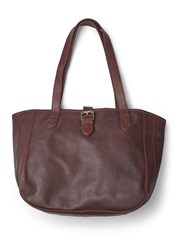 Fat Face Small Oiled Buckle Tote Bag Chocolate