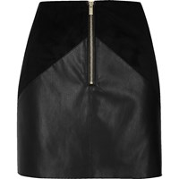 River Island Womens Black Leather Look Panel Mini Skirt