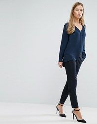 Selected Femme Muse Trouser Navy Pinstripe