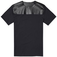 Valentino Leather Panel Tee Blue