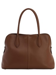 Max Mara Snob M Smooth Leather Tote Cognac