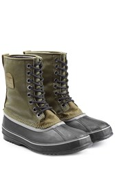 Sorel Rubber And Fabric Short Boots Green
