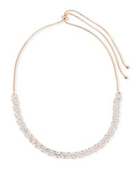 Fallon Monarch Jagged Edge Crystal Necklace Rose Gold