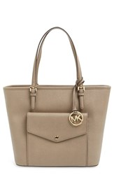 Michael Michael Kors 'Large Jet Set' Pocket Tote Brown Dark Dune