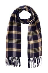 Amicale Plaid Solid Double Face Scarf Blue