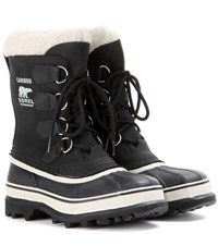 Sorel Caribou Leather And Rubber Boots Black