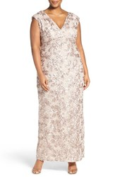 Marina Plus Size Women's V Neck Sequin Lace Empire Gown Taupe