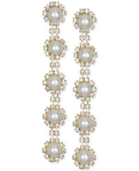 Jewel Badgley Mischka Gold Tone Crystal And Imitation Pearl Linear Drop Earrings