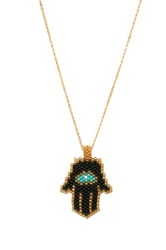 Bansri Hand Made Beaded Hamsa Pendant Necklace Black