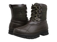Polo Ralph Lauren Crestwick Olive Dark Brown Menswear Wool Plaid Rubber Men's Lace Up Boots