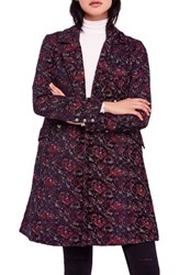 Free People Fox Trot Equestrian Coat Red Combo