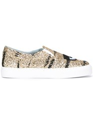 Chiara Ferragni Metallic Grey Slip On Sneakers