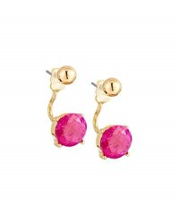 Lydell Nyc Crackled Crystal Jacket Earrings Dark Pink