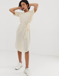 Selected Ivy Beach Tie Waist Midi Dress Beige