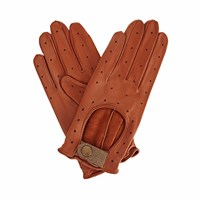 Gizelle Renee Bernadette Tan Brown Leather Driving Gloves With Light Brown Tweed