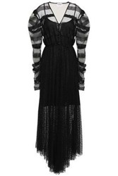 Ainea Woman Button Embellished Point D'esprit And Tulle Paneled Midi Dress Black
