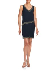 J Kara Beaded Shift Dress Navy Mercury