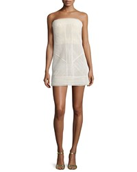 Kaufman Franco Ribbed Lace Bustier Dress Bone