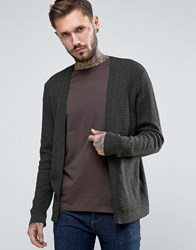 Asos Open Cable Knit Cardigan Khaki Green