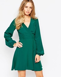 Asos Skater Dress With Wrap Front Detail Green