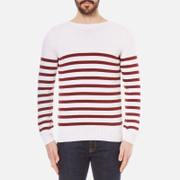 A.P.C. Men's Pull Lord Stripe Knitted Jumper Blanc Casse Cream