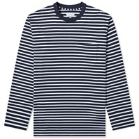 Engineered Garments Stripe Crew Sweat Blue