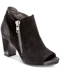 White Mountain Daytona Peep Toe Booties Women's Shoes Black