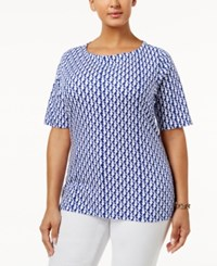 Charter Club Plus Size Cotton Boat Neck T Shirt Only At Macy's Modern Blue Combo