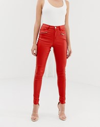 Lipsy Coated Skinny Jeans Red