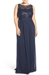 Adrianna Papell Plus Size Women's Sequin Mesh And Tulle A Line Gown