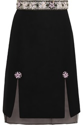 Holly Fulton Embellished Wool Blend Boucle And Silk Organza Skirt