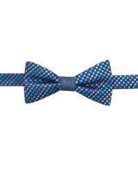Countess Mara Reversible Textured Stripe To Tie Bow Tie Aqua