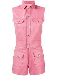 Manokhi Fitted Biker Playsuit Pink And Purple