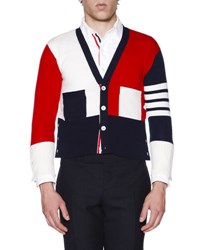 Thom Browne Colorblock Cashmere V Neck Cardigan Red White