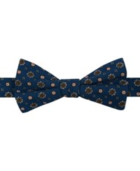 Tommy Hilfiger Men's Eric Medallion Print Pre Tied Bow Tie Navy