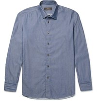Brioni Lim Fit Button Down Collar Cotton Chambray Hirt Blue